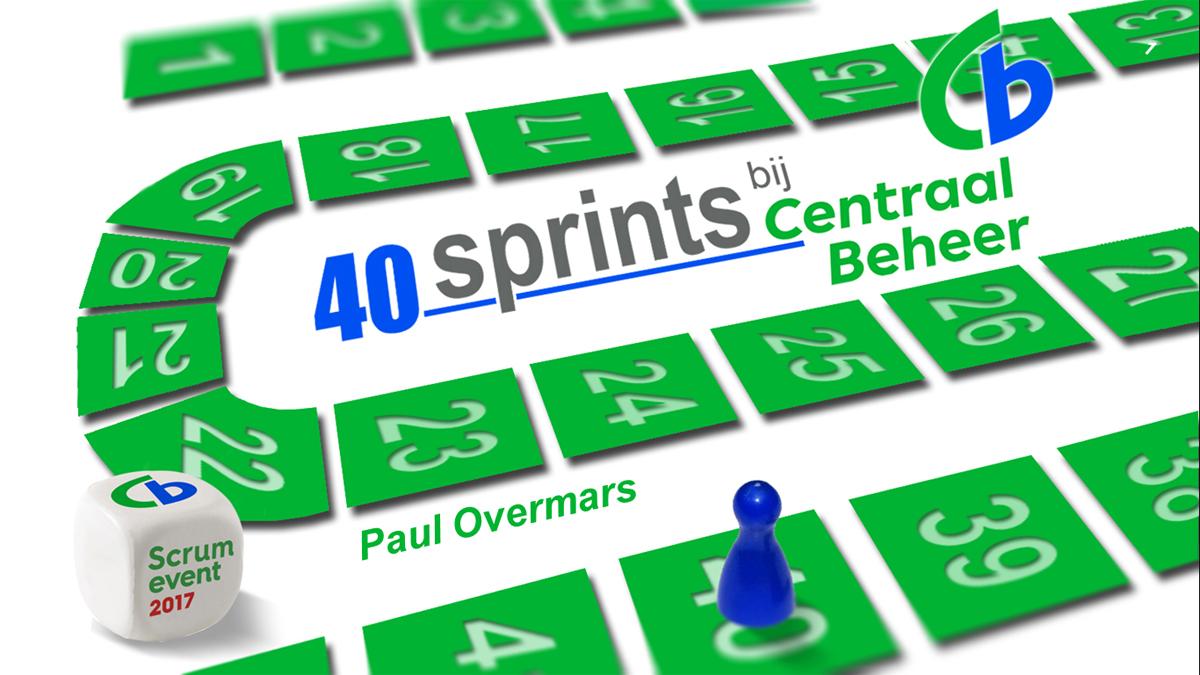 Titelslide van mijn presentatie 40 sprints bij Centraal Beheer.