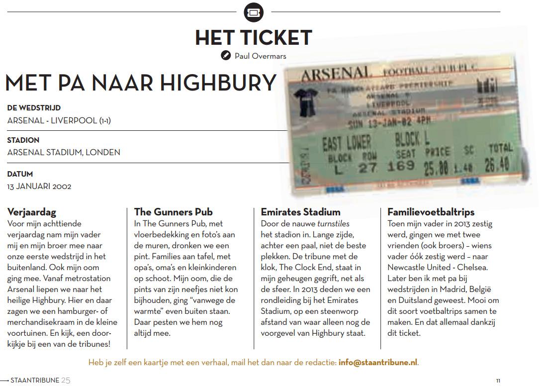 Artikel Staantribune Het Ticket Met pa naar Highbury