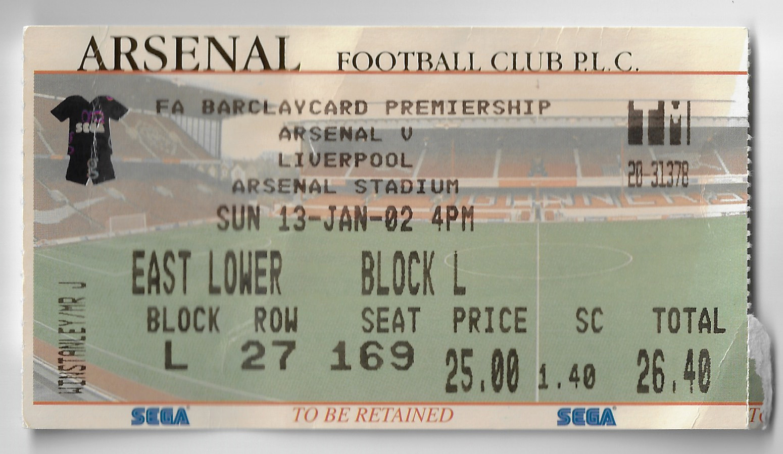 Voetbalgek Voetbal ticket Highbury Arsenal Liverpool