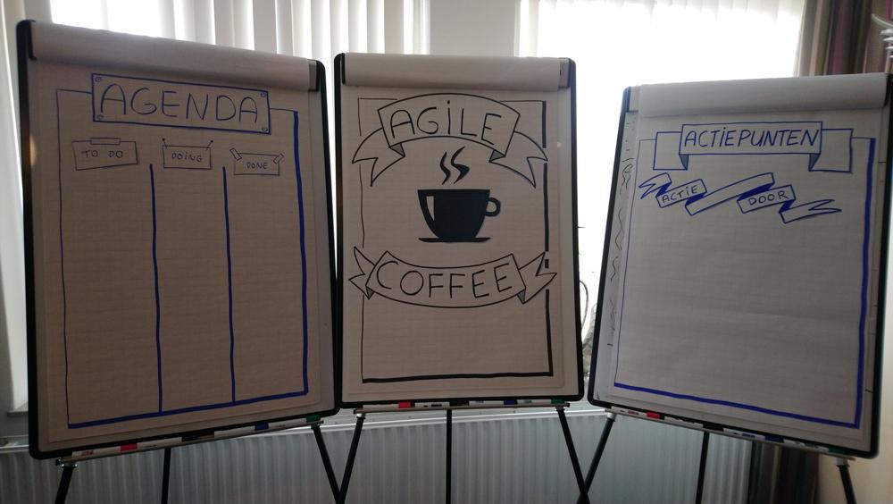 Agile Coffee met open agenda en actiepunten