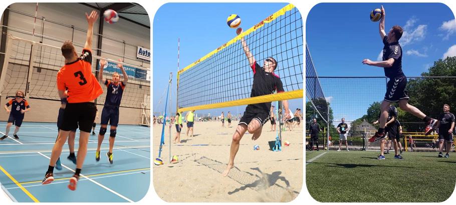 Volleyballen in de zaal en beachvolleyballen