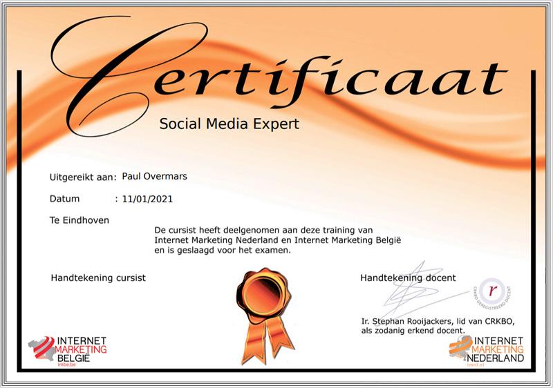 Social Media Expert certificaat